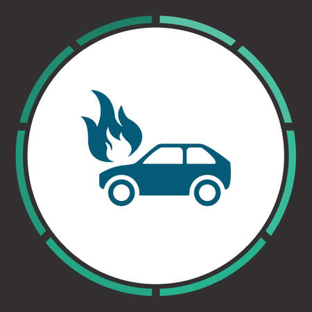 Car fire Icon Vector. Flat simple Blue pictogram in a circle. Illustration symbol Illustration
