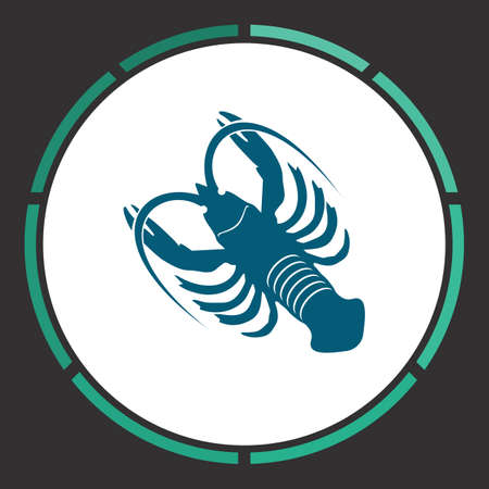 Crayfish Icon Vector. Flat simple Blue pictogram in a circle. Illustration symbol