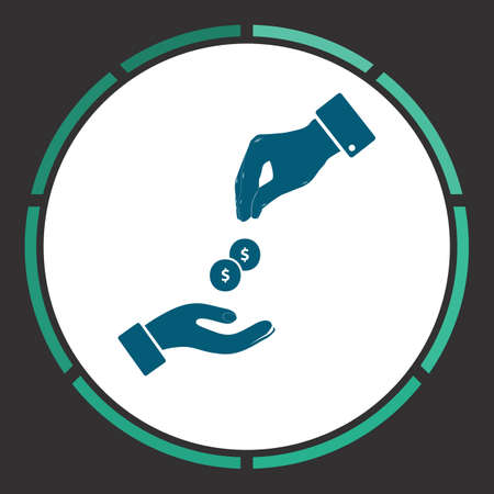 generosa: Dollar hand Icon Vector. Flat simple Blue pictogram in a circle. Illustration symbol Vectores