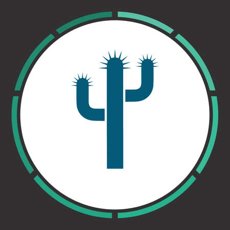 joshua: Cactus Icon Vector. Flat simple Blue pictogram in a circle. Illustration symbol Illustration