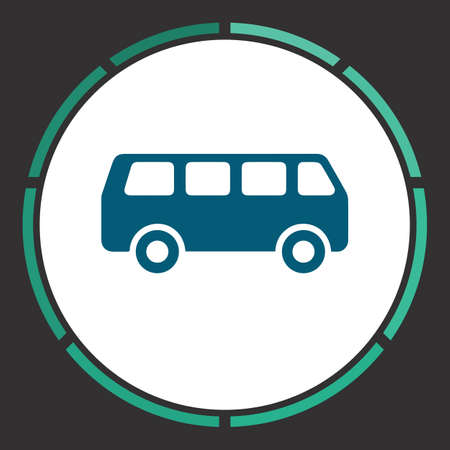 Minibus Icon Vector. Flat simple Blue pictogram in a circle. Illustration symbol