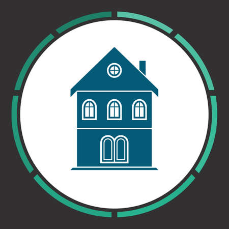 realstate: House Icon Vector. Flat simple Blue pictogram in a circle. Illustration symbol