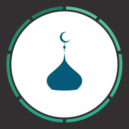 Islam dome Icon Vector. Flat simple Blue pictogram in a circle. Illustration symbol