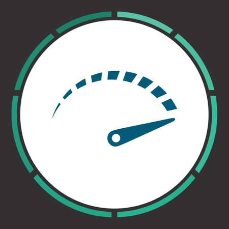 Speedometer Icon Vector. Flat simple Blue pictogram in a circle. Illustration symbol