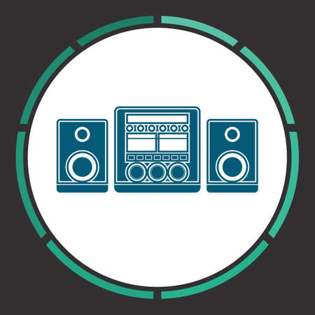 Music center Icon Vector. Flat simple Blue pictogram in a circle. Illustration symbol