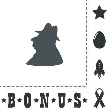 Man profile in hat. Simple flat symbol icon on white background. Vector illustration pictogram and bonus icons
