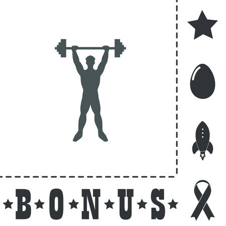 Strong man. Simple flat symbol icon on white background. Vector illustration pictogram and bonus icons
