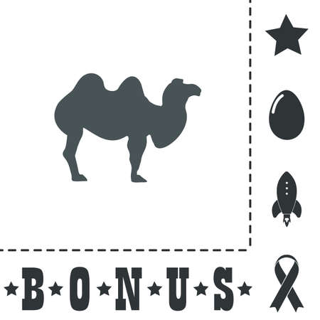 Camel. Simple flat symbol icon on white background. Vector illustration pictogram and bonus icons