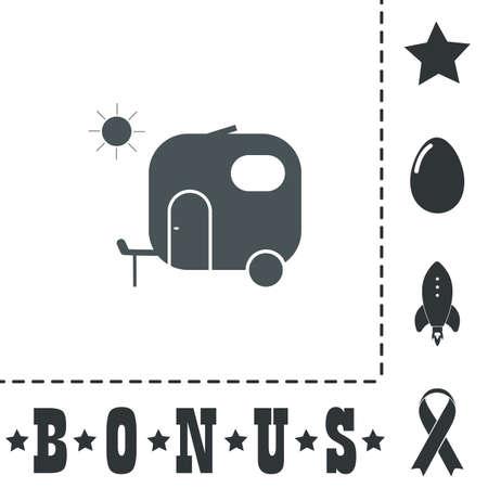 Travel trailer. Simple flat symbol icon on white background. Vector illustration pictogram and bonus icons Illustration