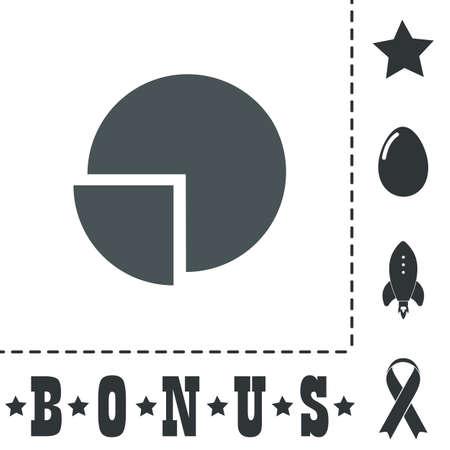 Cirkeldiagram. Eenvoudig plat symboolpictogram op een witte achtergrond. Vector illustratie pictogram en bonus pictogrammen Stock Illustratie