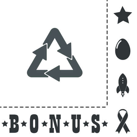 Recycle. Simple flat symbol icon on white background. Vector illustration pictogram and bonus icons