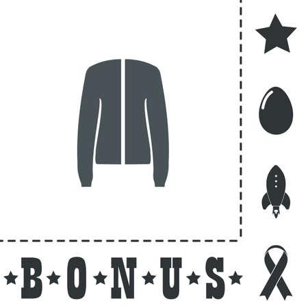 Jacket. Simple flat symbol icon on white background. Vector illustration pictogram and bonus icons Illustration