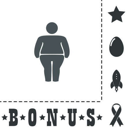 stocky: Overweight man symbol. Simple flat symbol icon on white background. Vector illustration pictogram and bonus icons Illustration