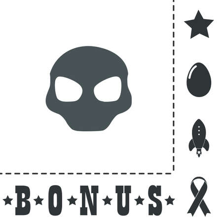 Alien Head. Simple flat symbol icon on white background. Vector illustration pictogram and bonus icons