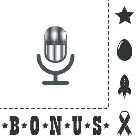 Retro microphone. Simple flat symbol icon on white background. Vector illustration pictogram and bonus icons