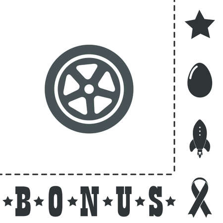 shiny car: Wheel. Simple flat symbol icon on white background. Vector illustration pictogram and bonus icons
