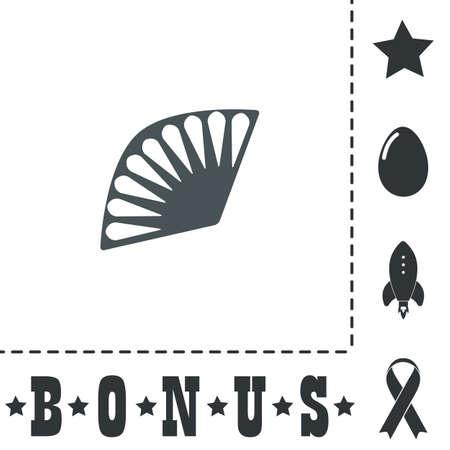 Fan. Simple flat symbol icon on white background. Vector illustration pictogram and bonus icons