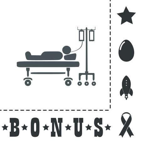 La vie hospitalisée. Icône de symbole plat simple sur fond blanc. Pictogramme d'illustration vectorielle et icônes de bonus Vecteurs