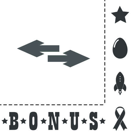 double bad: Two side arrow. Simple flat symbol icon on white background. Vector illustration pictogram and bonus icons