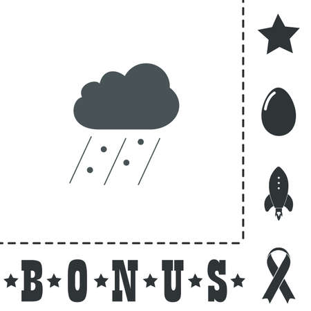 Cloud it is raining and hail. Simple flat symbol icon on white background. Vector illustration pictogram and bonus icons Illusztráció