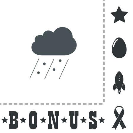 Cloud it is raining and hail. Simple flat symbol icon on white background. Vector illustration pictogram and bonus icons Vektoros illusztráció