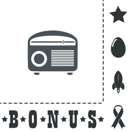 Retro revival radios tuner. Simple flat symbol icon on white background. Vector illustration pictogram and bonus icons