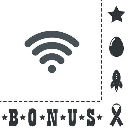 Free wi fi. Simple flat symbol icon on white background. Vector illustration pictogram and bonus icons Illustration