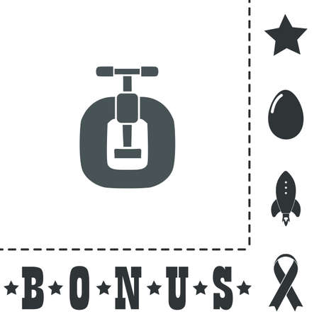 swivel: Bench vices. Simple flat symbol icon on white background. Vector illustration pictogram and bonus icons