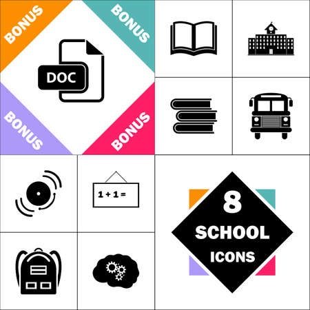 DOC Icon and Set Perfect Back to School pictogram. Contains such Icons as Schoolbook, School  Building, School Bus, Textbooks, Bell, Blackboard, Student Backpack, Brain Learn Illustration