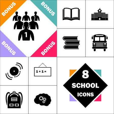 Leadership Icon and Set Perfect Back to School pictogram. Contains such Icons as Schoolbook, School Building, School Bus, Textbooks, Bell, Blackboard, Student Backpack, Brain Learn
