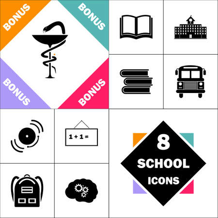 a snake in a bag: Pharmacy Icon and Set Perfect Back to School pictogram. Contains such Icons as Schoolbook, School  Building, School Bus, Textbooks, Bell, Blackboard, Student Backpack, Brain Learn