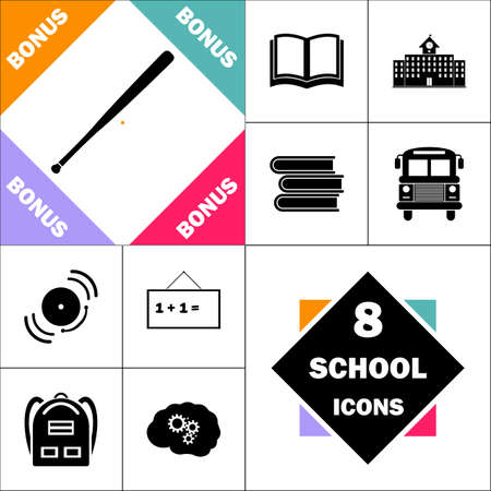 Baseball bat Icon and Set Perfect Back to School pictogram. Contains such Icons as Schoolbook, School  Building, School Bus, Textbooks, Bell, Blackboard, Student Backpack, Brain Learn Illustration