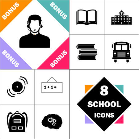 Operator Icon and Set Perfect Back to School pictogram. Contains such Icons as Schoolbook, School  Building, School Bus, Textbooks, Bell, Blackboard, Student Backpack, Brain Learn