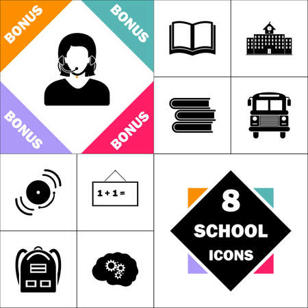 telephonist Icon and Set Perfect Back to School pictogram. Contains such Icons as Schoolbook, School  Building, School Bus, Textbooks, Bell, Blackboard, Student Backpack, Brain Learn Imagens - 84961948