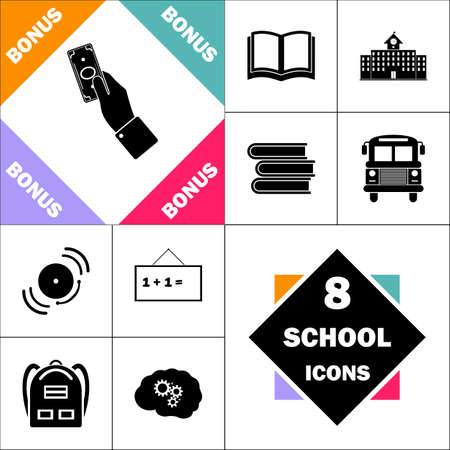 school bills: Money Icon and Set Perfect Back to School pictogram. Contains such Icons as Schoolbook, School  Building, School Bus, Textbooks, Bell, Blackboard, Student Backpack, Brain Learn