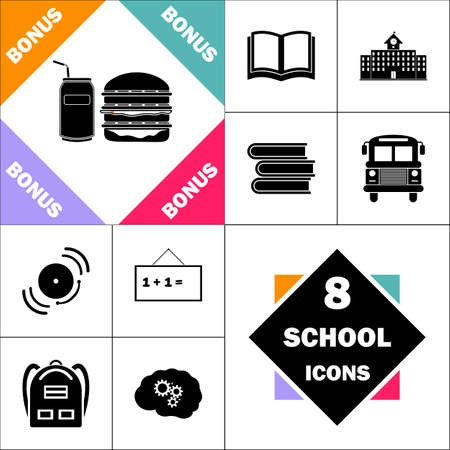 hot dog: fast food Icon and Set Perfect Back to School pictogram. Contains such Icons as Schoolbook, School  Building, School Bus, Textbooks, Bell, Blackboard, Student Backpack, Brain Learn