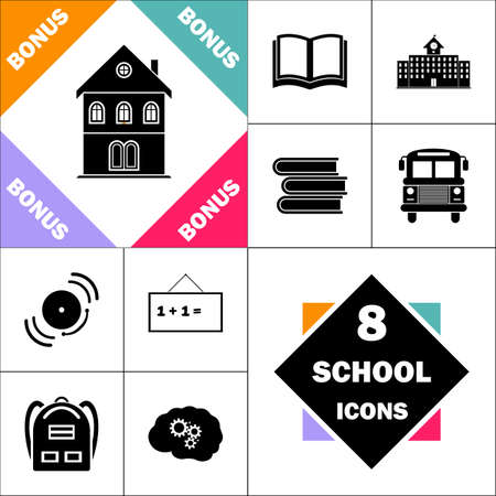 apartment bell: building Icon and Set Perfect Back to School pictogram. Contains such Icons as Schoolbook, School  Building, School Bus, Textbooks, Bell, Blackboard, Student Backpack, Brain Learn
