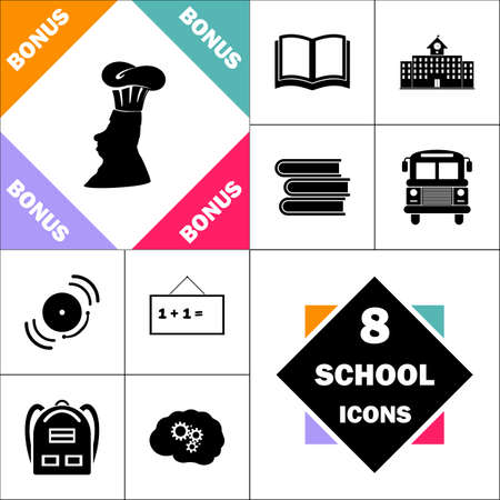 Chef Icon and Set Perfect Back to School pictogram. Contains such Icons as Schoolbook, School Building, School Bus, Textbooks, Bell, Blackboard, Student Backpack, Brain Learn Vector Illustration