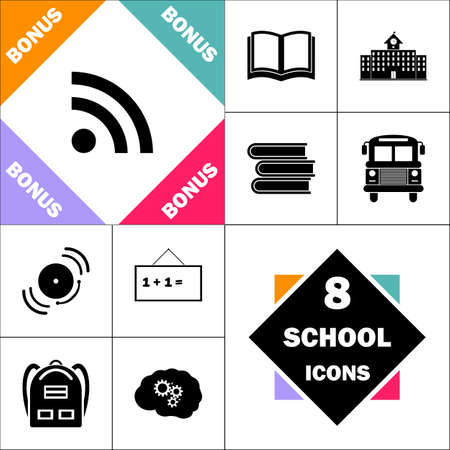 RSS Icon and Set Perfect Back to School pictogram. Contains such Icons as Schoolbook, School  Building, School Bus, Textbooks, Bell, Blackboard, Student Backpack, Brain Learn