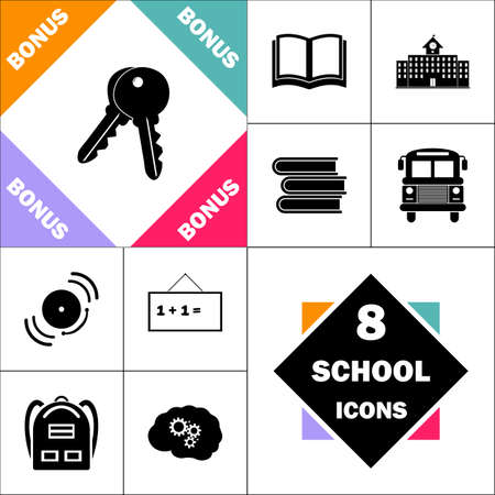 Keys Icon and Set Perfect Back to School pictogram. Contains such Icons as Schoolbook, School  Building, School Bus, Textbooks, Bell, Blackboard, Student Backpack, Brain Learn