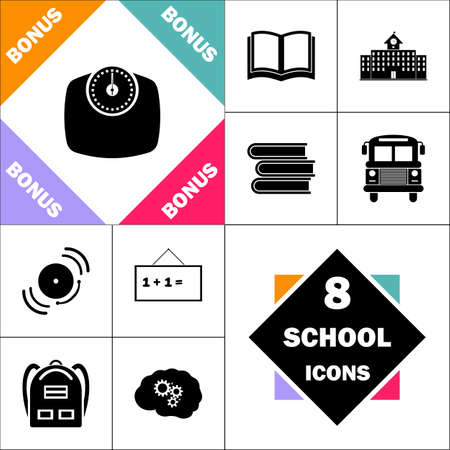 bathroom scale: Bathroom scale Icon and Set Perfect Back to School pictogram. Contains such Icons as Schoolbook, School  Building, School Bus, Textbooks, Bell, Blackboard, Student Backpack, Brain Learn