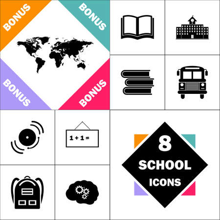 World Map Icon and Set Perfect Back to School pictogram. Contains such Icons as Schoolbook, School  Building, School Bus, Textbooks, Bell, Blackboard, Student Backpack, Brain Learn