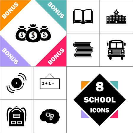 Money bag Icon and Set Perfect Back to School pictogram. Contains such Icons as Schoolbook, School  Building, School Bus, Textbooks, Bell, Blackboard, Student Backpack, Brain Learn Ilustração
