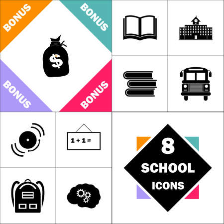 sack dollars Icon and Set Perfect Back to School pictogram. Contains such Icons as Schoolbook, School  Building, School Bus, Textbooks, Bell, Blackboard, Student Backpack, Brain Learn Ilustração