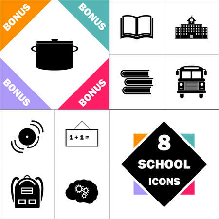 Saucepan Icon and Set Perfect Back to School pictogram. Contains such Icons as Schoolbook, School  Building, School Bus, Textbooks, Bell, Blackboard, Student Backpack, Brain Learn