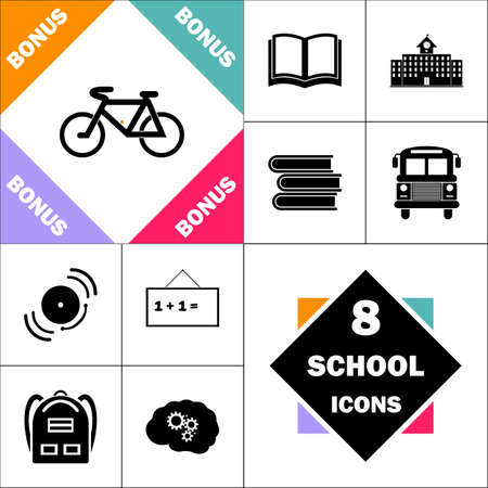 Mountainbike pictogram en instellen Perfect terug naar school pictogram. Bevat iconen zoals schoolboek, schoolgebouw, schoolbus, studieboeken, bel, schoolbord, studentenrugzak, hersenleer