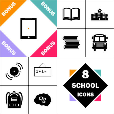 Tablet PC Icon and Set Perfect Back to School pictogram. Contains such Icons as Schoolbook, School  Building, School Bus, Textbooks, Bell, Blackboard, Student Backpack, Brain Learn