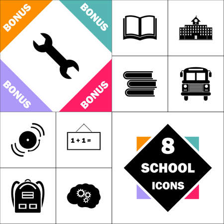spanner Icon and Set Perfect Back to School pictogram. Contains such Icons as Schoolbook, School  Building, School Bus, Textbooks, Bell, Blackboard, Student Backpack, Brain Learn Illustration