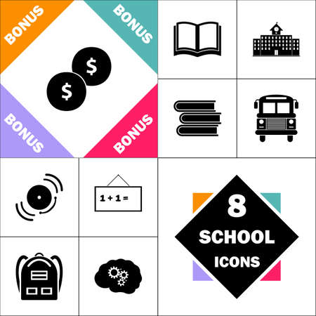 Coins Icon and Set Perfect Back to School pictogram. Contains such Icons as Schoolbook, School  Building, School Bus, Textbooks, Bell, Blackboard, Student Backpack, Brain Learn Ilustração