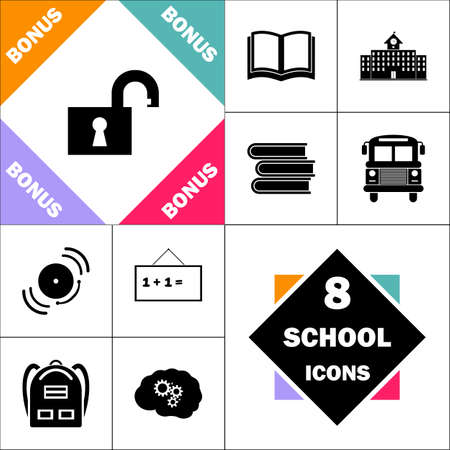 Open padlock Icon and Set Perfect Back to School pictogram. Contains such Icons as Schoolbook, School  Building, School Bus, Textbooks, Bell, Blackboard, Student Backpack, Brain Learn